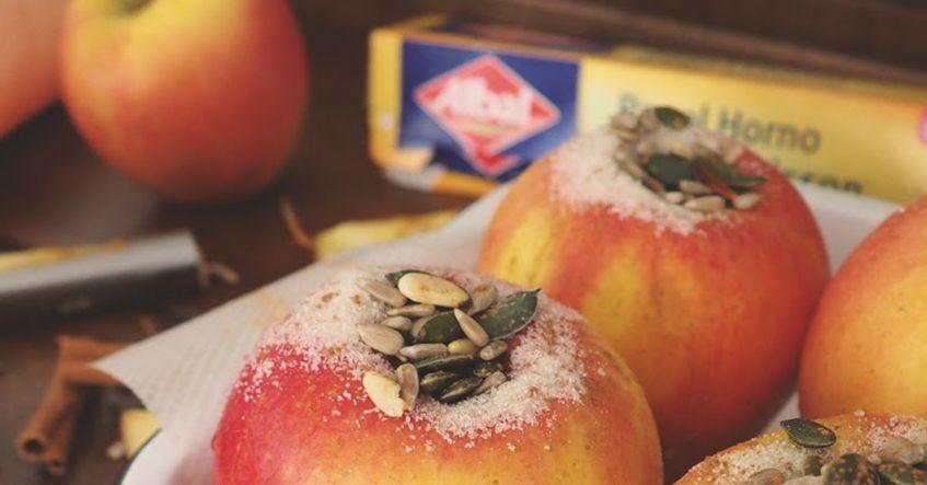 Manzanas asadas rellenas de frutos secos y anís