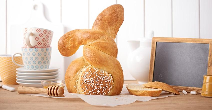 Pan en forma de conejo de Pascua