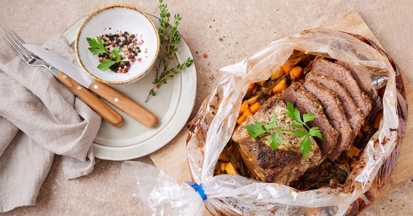 Receta Albal® Carne ternera asada cocida y cortada en bolsas de asar horno y microondas de ALbal®