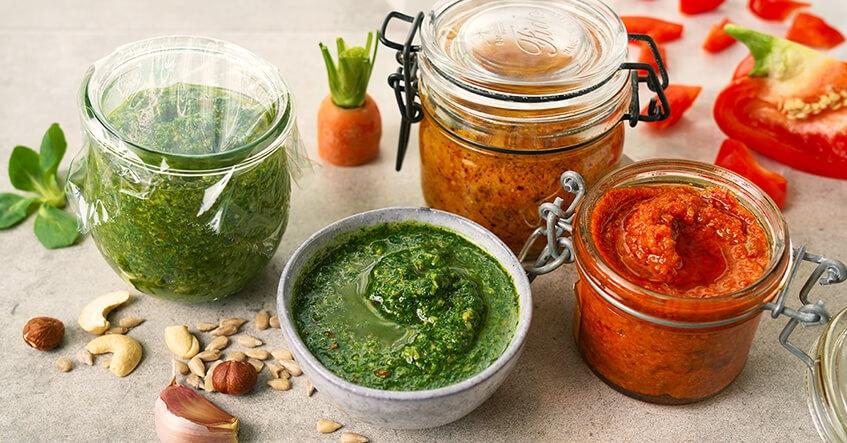 Receta Albal® Pesto de calabacín, pesto de zanahoria, pesto de pimiento en tarros.